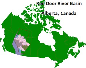 The Red Deer River basin is located in Western Canada.